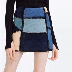 Zara Woman Blues / Tan Suede Panel Skirt